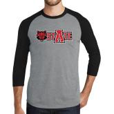 Grey/Black Tri Blend Baseball Raglan-Red Wolf Head w/A State