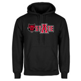 Black Fleece Hoodie-Red Wolf Head w/A State