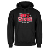 Black Fleece Hoodie-Red Wolves Stacked Head on Right