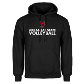 Black Fleece Hoodie-Volleyball Stacked Text