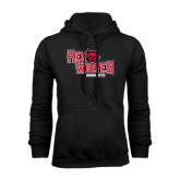 Black Fleece Hood-Red Wolves Stacked Head Centered