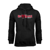 Black Fleece Hood-Red Wolves w/Red Wolf Head Centered