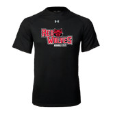 Under Armour Black Tech Tee-Red Wolves Stacked Head Centered