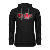 Adidas Climawarm Black Team Issue Hoodie-Red Wolf Head w/A State
