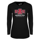 Ladies Syntrel Performance Black Longsleeve Shirt-University Mark