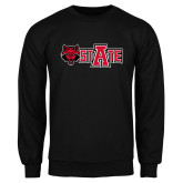 Black Fleece Crew-A State w Red Wolf