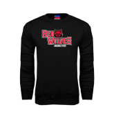 Black Fleece Crew-Red Wolves Stacked Head Centered