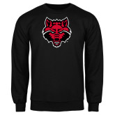 Black Fleece Crew-Red Wolf Head