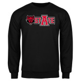 Black Fleece Crew-Red Wolf Head w/A State