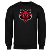 Black Fleece Crew-Red Wolf Head