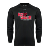 Under Armour Black Long Sleeve Tech Tee-Red Wolves Stacked Head Centered