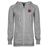 ENZA Ladies Grey/Black Marled Full Zip Hoodie-Red Wolf Head