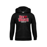 Youth Black Fleece Hood-Red Wolves Stacked Head on Right