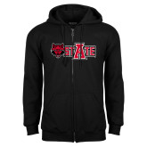 Black Fleece Full Zip Hood-Red Wolf Head w/A State