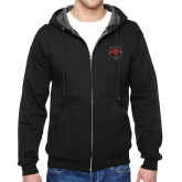 Black Fleece Full Zip Hoodie-Red Wolf Head