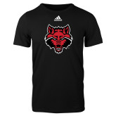 Adidas Black Logo T Shirt-Red Wolf Head
