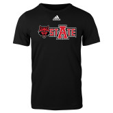 Adidas Black Logo T Shirt-Red Wolf Head w/A State
