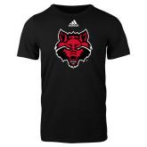 Adidas Black Logo T Shirt-Red Wolf Head