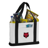 Contender White/Black Canvas Tote-Red Wolf Head
