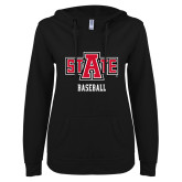 ENZA Ladies Black V Notch Raw Edge Fleece Hoodie-Baseball