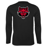 Syntrel Performance Black Longsleeve Shirt-Red Wolf Head