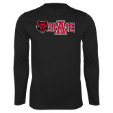 Performance Black Longsleeve Shirt-Red Wolf Head w/A State