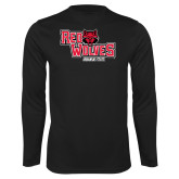 Performance Black Longsleeve Shirt-Red Wolves Stacked Head Centered