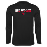 Syntrel Performance Black Longsleeve Shirt-Red Wolves Two Tone