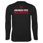 Syntrel Performance Black Longsleeve Shirt-Arkansas State Red Wolves Stacked Block