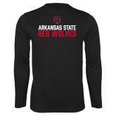 Performance Black Longsleeve Shirt-Arkansas State Red Wolves Stacked Block