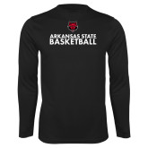Performance Black Longsleeve Shirt-Basketball Stacked Text