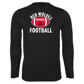Performance Black Longsleeve Shirt-Football Distressed Ball