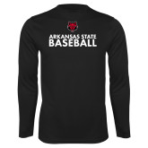 Performance Black Longsleeve Shirt-Baseball Stacked Text