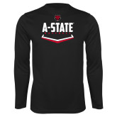 Performance Black Longsleeve Shirt-Baseball Abstract Plate
