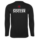 Performance Black Longsleeve Shirt-Soccer Stacked Text