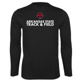 Performance Black Longsleeve Shirt-Track and Field Stacked Text