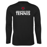 Performance Black Longsleeve Shirt-Tennis Stacked Text