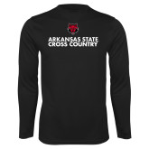 Performance Black Longsleeve Shirt-Cross Country Stacked Text