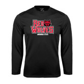 Syntrel Performance Black Longsleeve Shirt-Red Wolves Stacked Head on Right