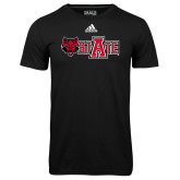 Adidas Climalite Black Ultimate Performance Tee-Red Wolf Head w/A State