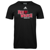 Adidas Climalite Black Ultimate Performance Tee-Red Wolves Stacked Head Centered