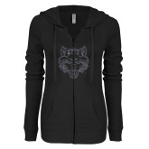 ENZA Ladies Black Light Weight Fleece Full Zip Hoodie-Red Wolf Head Glitter