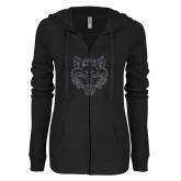 ENZA Ladies Black Light Weight Fleece Full Zip Hoodie-Red Wolf Head Glitter