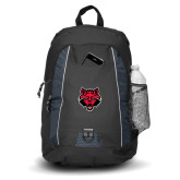 Impulse Black Backpack-Red Wolf Head