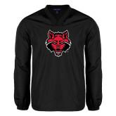 Colorblock V Neck Black/White Raglan Windshirt-Red Wolf Head