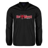 Colorblock V Neck Black/White Raglan Windshirt-Red Wolves w/Red Wolf Head Centered
