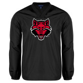 V Neck Black Raglan Windshirt-Red Wolf Head