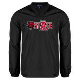 V Neck Black Raglan Windshirt-Red Wolf Head w/A State