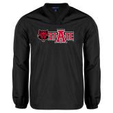 V Neck Black Raglan Windshirt-Red Wolf Head w/A State