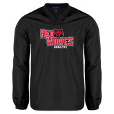 V Neck Black Raglan Windshirt-Red Wolves Stacked Head Centered